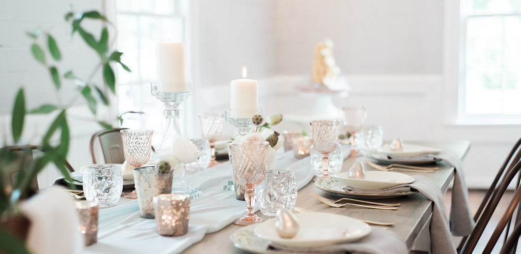 Tablescape with candles and place settings