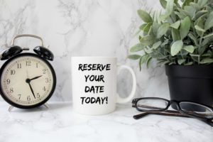 The Rental Process, Mug with image of reserve your date today