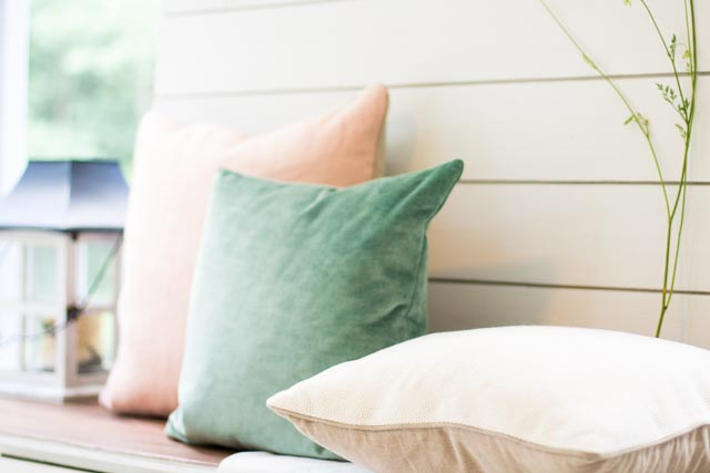 Pillows + Throws + Rugs, Pale Pink and Cream Pillows