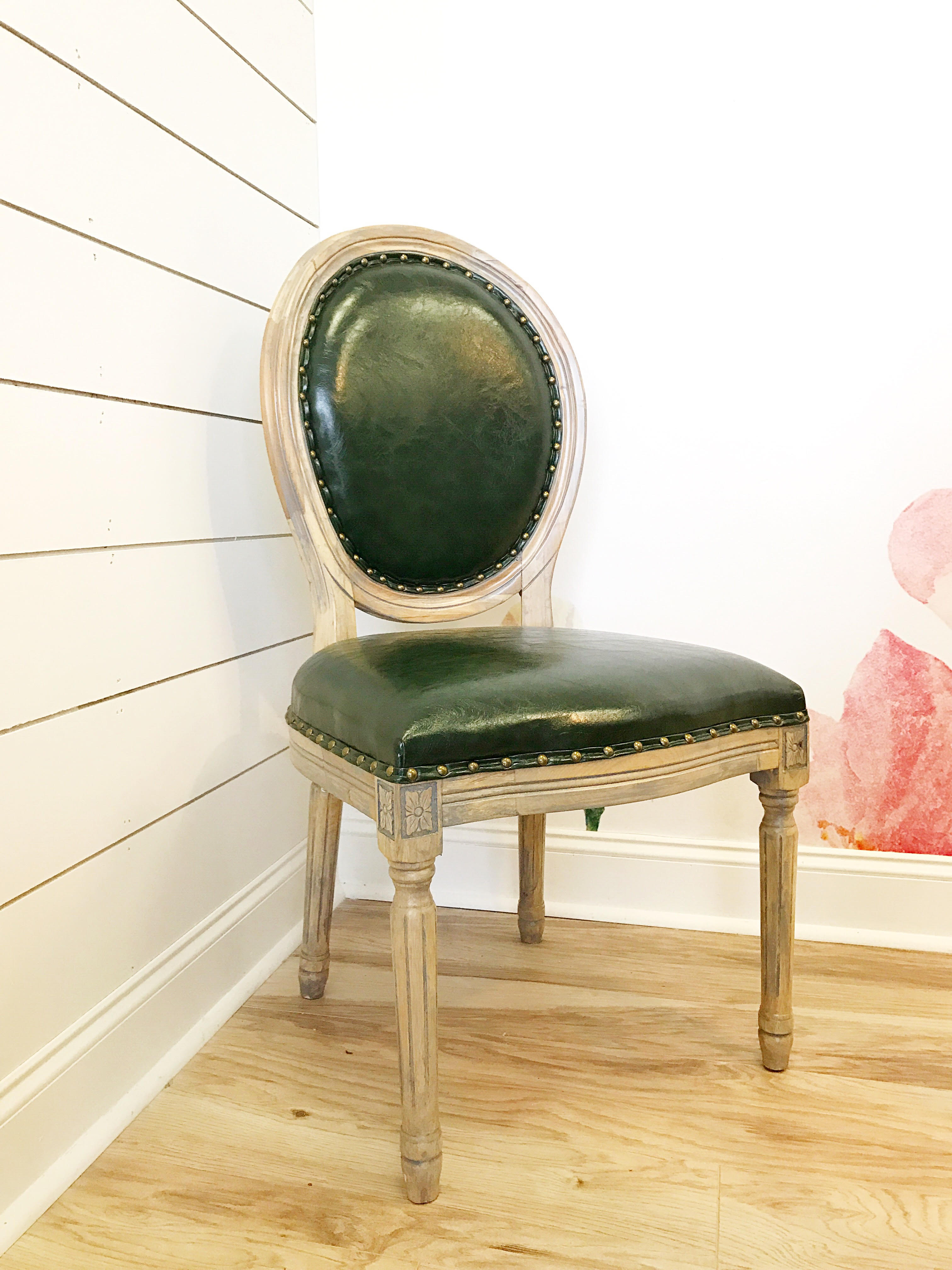 Louis Emerald Leather Chair