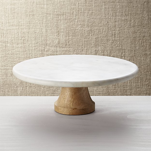 Marble and Wood Cake Stand - 12 in.