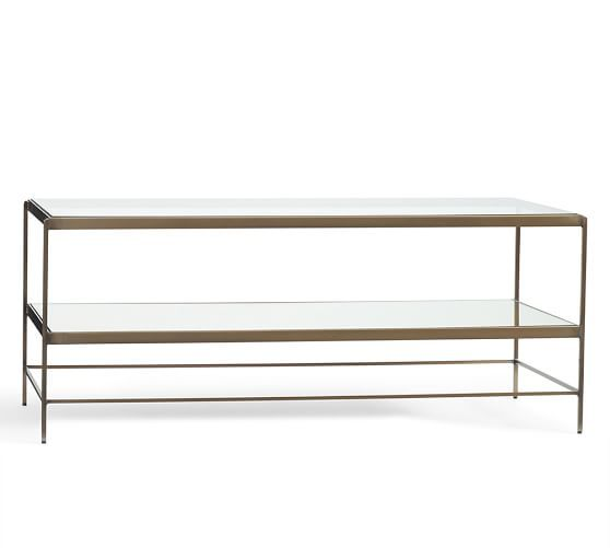 Mercer Cocktail Table - simple, gold coffee table in white room