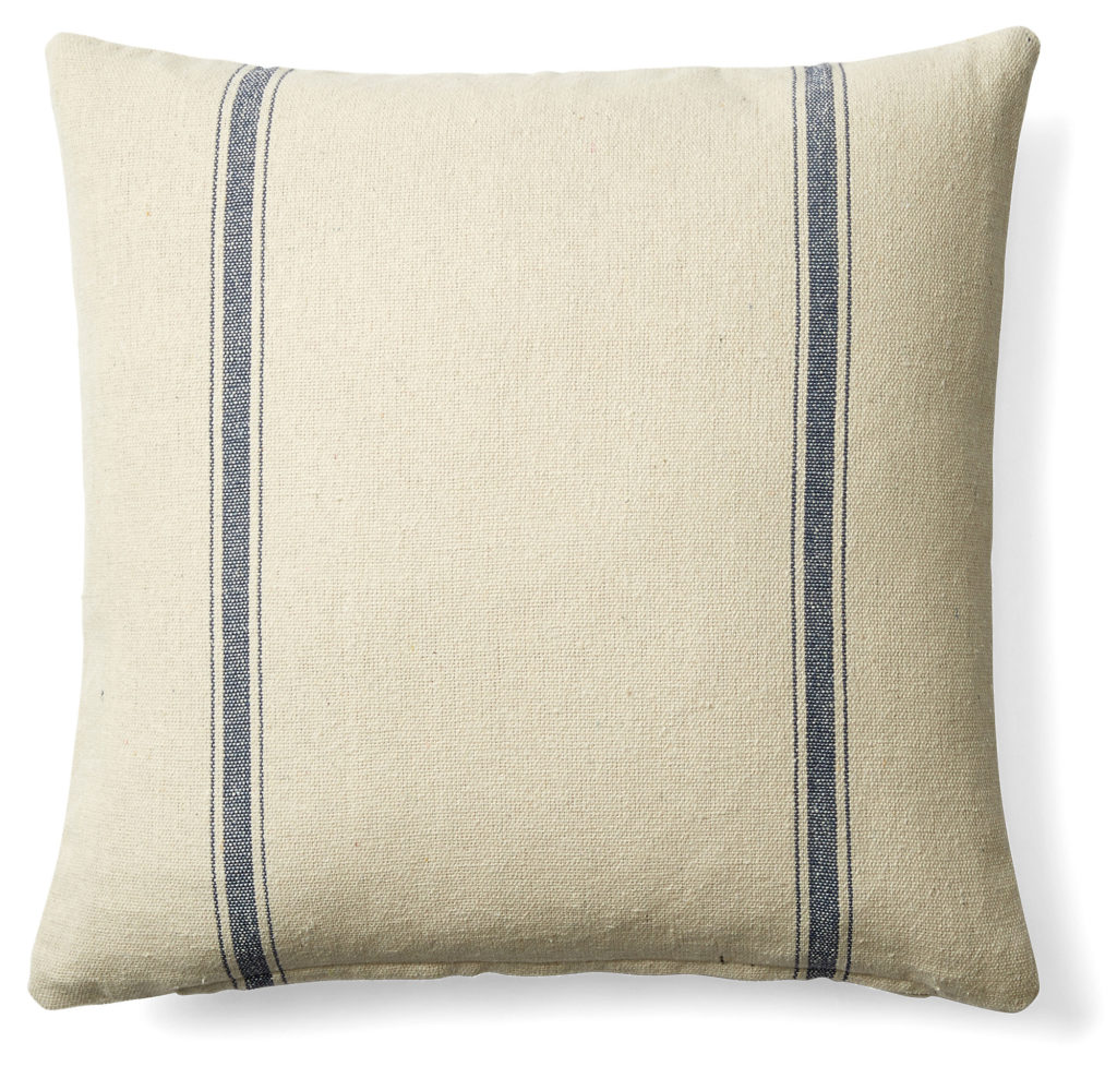 Pillows + Throws + Rugs, French Laundry Cream and Blue Stripe