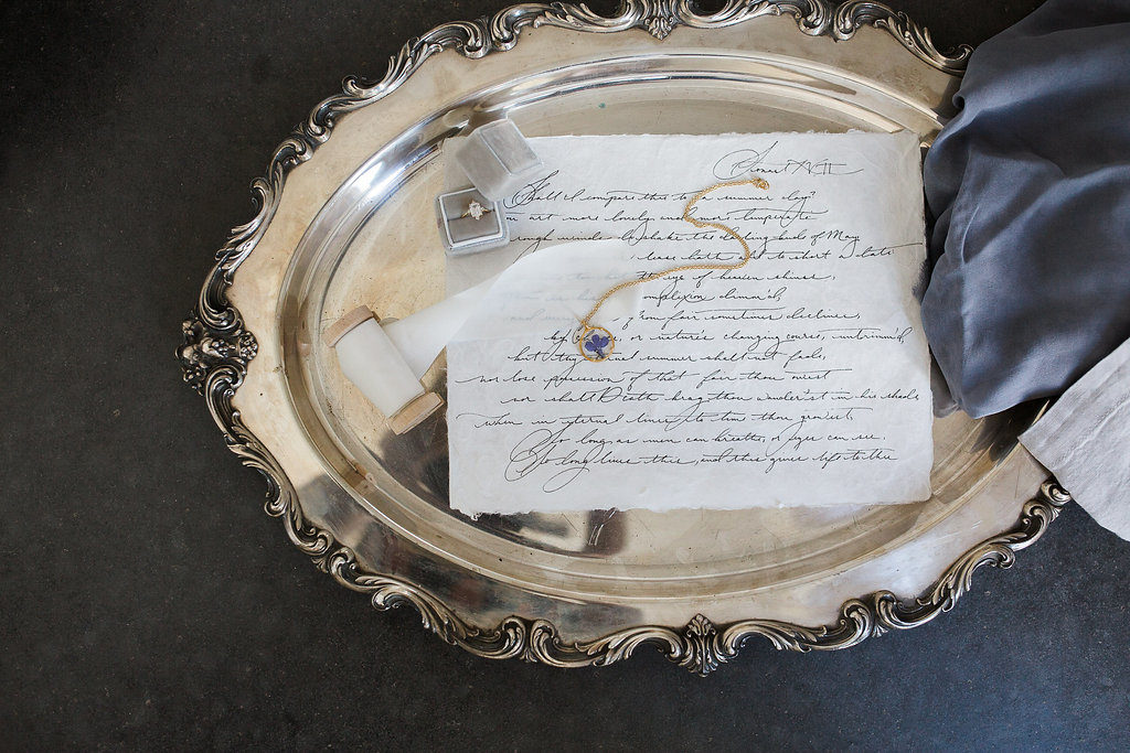 Feature on JoyWed An Intimate Affair - Silver platter with letter