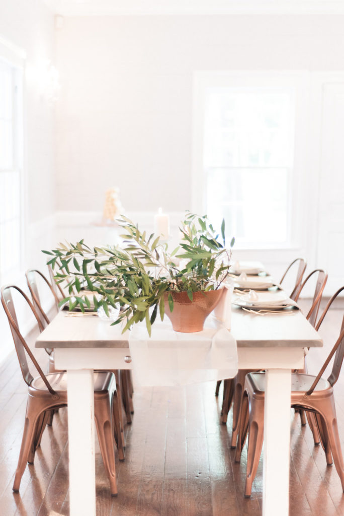 Guest seating - Look Book, farm table with greenery