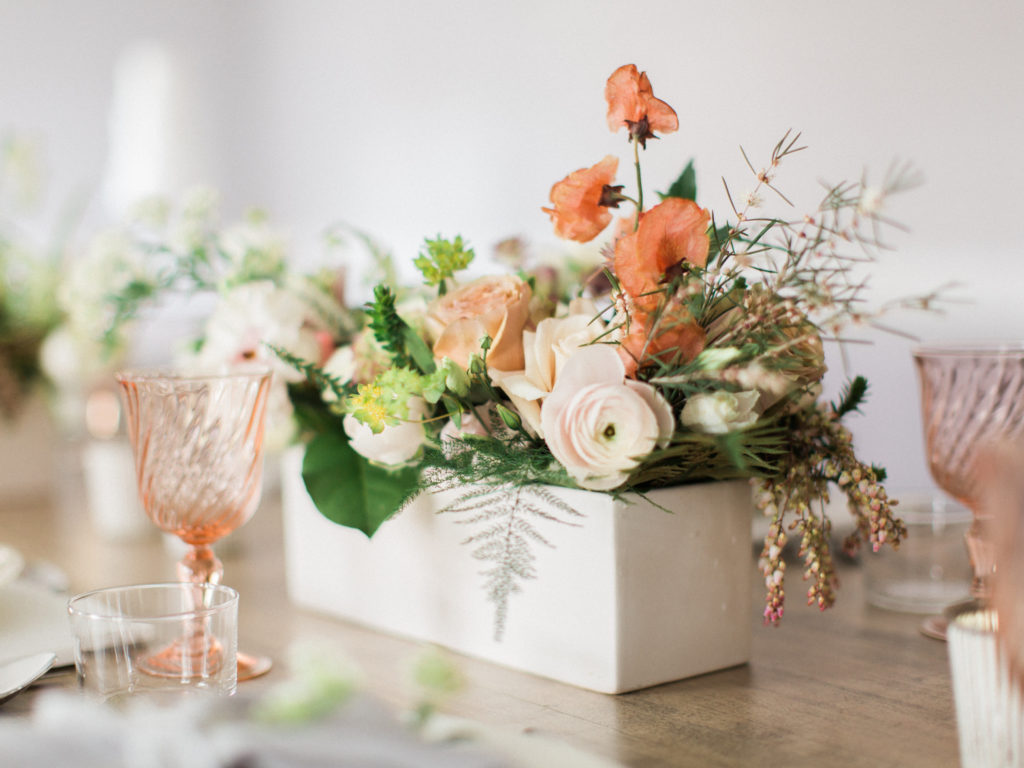 Bridal Pop Up Featuring beautiful flowers closeup of table